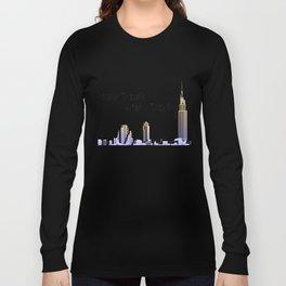 New York New York skyline retro 1930s style Long Sleeve T-shirt