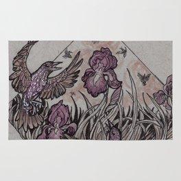 Starlings and Iris Field Rug