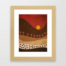 Circular landscape & flowers Framed Art Print
