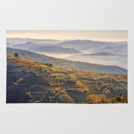 morning mist in the Douro Valley, Portugal Rug