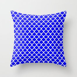 Scales (White & Blue Pattern) Throw Pillow