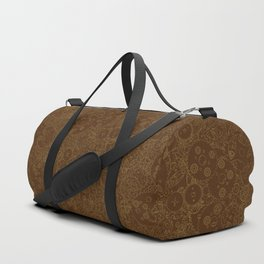 Clockwork Retro / Cogs and clockwork parts lineart pattern in brown and gold Duffle Bag