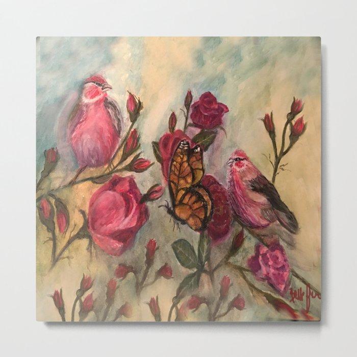 Birds and Roses - watercolor Metal Print