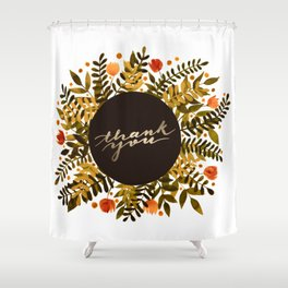 Thank you flowers and branches - ochre and sap green Shower Curtain