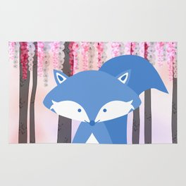 Cute Nursery Fox Flowers Design Rug