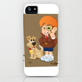 Smart young cartoon detective boy and his dog iPhone Case