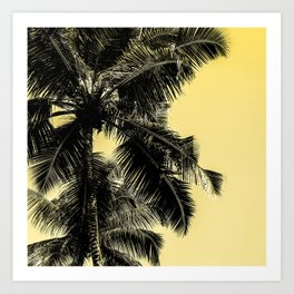 High palms poster in yellow Art Print