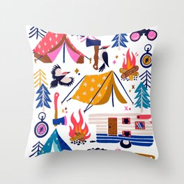 Camping Kit – Rainbow Palette Throw Pillow