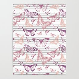 Minimal Black and White Stripes and Rose Gold Butterflies Poster