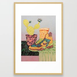 Too Horny to Stay Hungry Framed Art Print