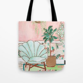 Art Deco Velvet Mint Shell Chair in Jungle Room with Tigers Tote Bag