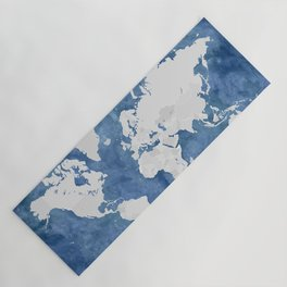 Navy blue watercolor and light grey world map with countries (outlined) Yoga Mat