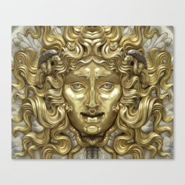 """Ancient Golden and Silver Medusa Myth"" Canvas Print"
