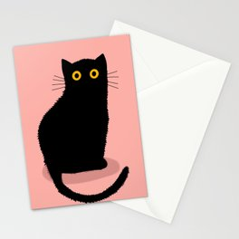 Black cat on pink background Stationery Cards