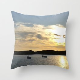 Sunset over Lancashire sea fishing boats  Throw Pillow