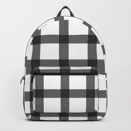 black and white plaid Backpack