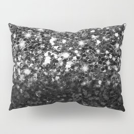 Black & Silver Glitter Gradient Pillow Sham