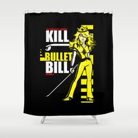 kill bill Shower Curtains featuring Kill Bullet Bill (Black/Yellow Variant) by Shana-Lee