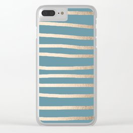 Abstract Drawn Stripes Gold Tropical Ocean Blue Clear iPhone Case
