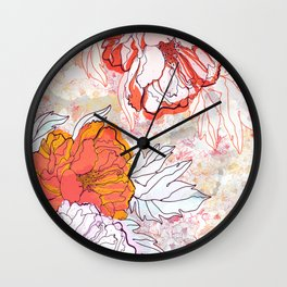 Abstract Floral Illustration Wall Clock