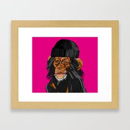 Monkey Beanie Framed Art Print