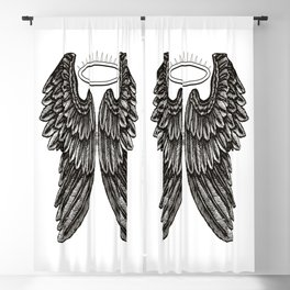 Angel Wings and Halo | Black and White | Blackout Curtain