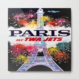 Paris Vintage Travel Poster; Eiffel Tower at Night Metal Print