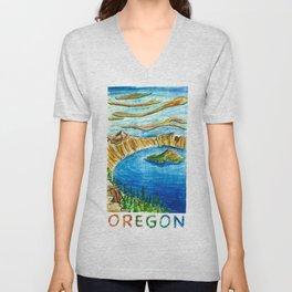 Crater Lake National Park - Oregon Travel Poster Unisex V-Neck