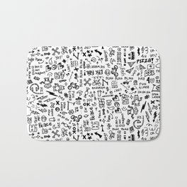 Passing Notes in Class // Old School Handwriting and Doodle Drawings in Black & White Bath Mat
