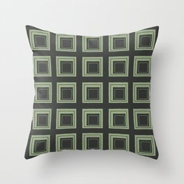 Green Squares Throw Pillow