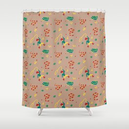 Cowboy/Girl Western Snake Wallpaper Shower Curtain