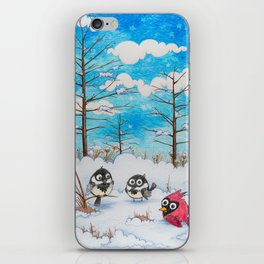 Winter: Two Chickadees and a Cardinal iPhone Skin