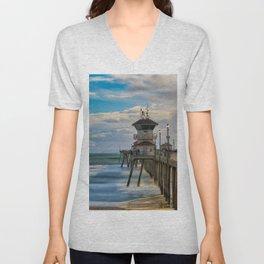 Windy Afternoon on Huntington Beach Pier Unisex V-Neck