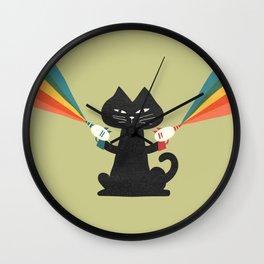Ray gun cat Wall Clock