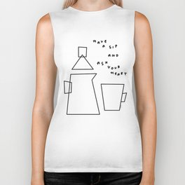 Words from A Cup and A Tea pot - coffee illustration tea Biker Tank