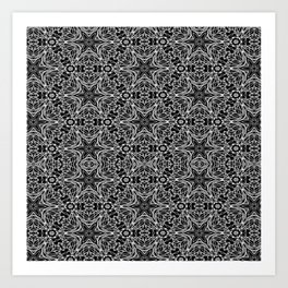Black and white stars and squiggles 5015 Art Print