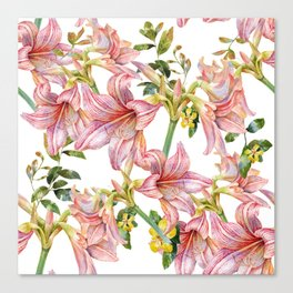 Candy Cane Hibiscus Flowers Canvas Print