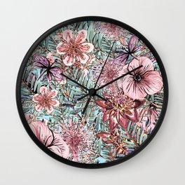 Tropical Pastel Pink Flower Hibiscus Garden Wall Clock