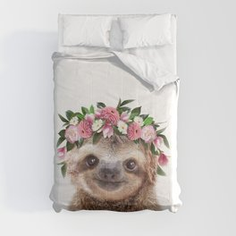Baby Sloth With Flower Crown, Baby Animals Art Print By Synplus Comforters