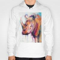 rhino Hoodies featuring Rhino by Slaveika Aladjova