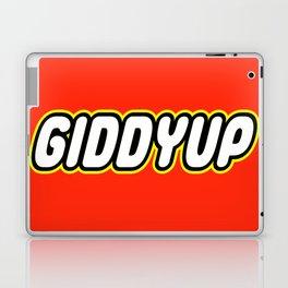 GIDDYUP in Brick Font Logo Design by Chillee Wilson Laptop & iPad Skin