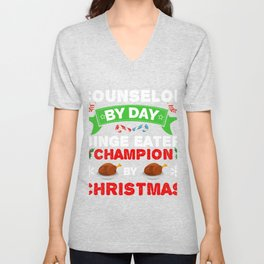 Counselor by day Binge Eater by Christmas Xmas Unisex V-Neck