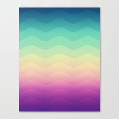 Abstract Geometric Rainbow Waves Pattern (Multi Color) Canvas Print