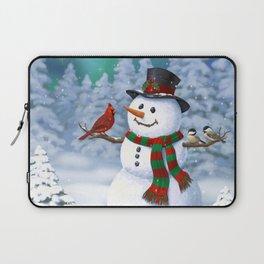 Cute Happy Christmas Snowman with Birds Laptop Sleeve
