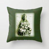 budi satria kwan Throw Pillows featuring Antique Green Kwan Yin by Jan4insight