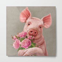 Pig In Love - with Peony Metal Print