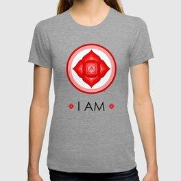 I AM - Red Lotus Root Chakra Yoga Meditation Mantra T-shirt