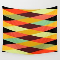 diamonds Wall Tapestries featuring multicolor diamond pattern by Gary Andrew Clarke