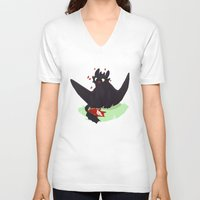 toothless V-neck T-shirts featuring Toothless by Flora