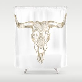 Bull Skull Gold Shower Curtain